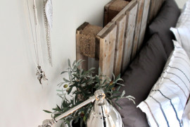Recycled palette wood headboard