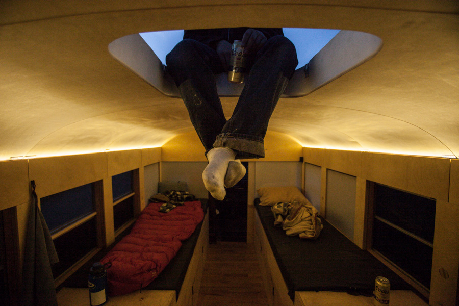 Relax inside the mobile bus home