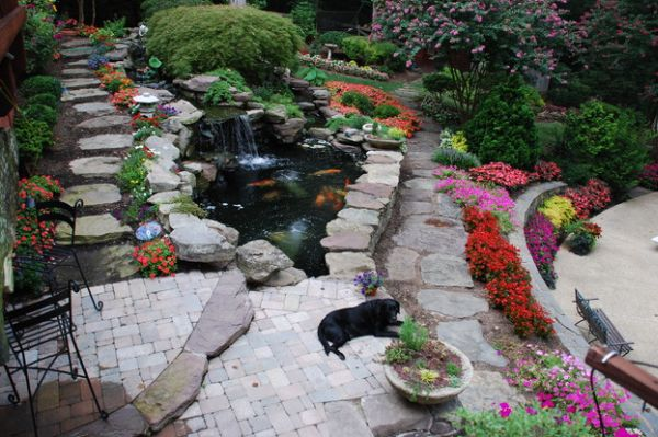 Rock patio with a koi pond at its heart