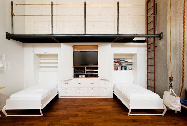 savvy custom wall unit with integrated twin murphy beds and storage units