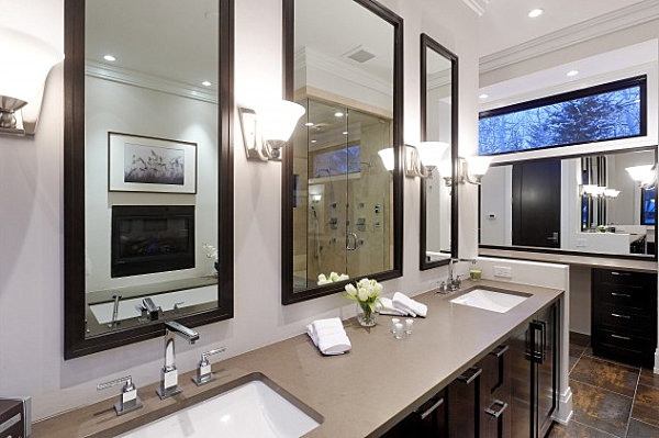 Series of mirrors in a master bath