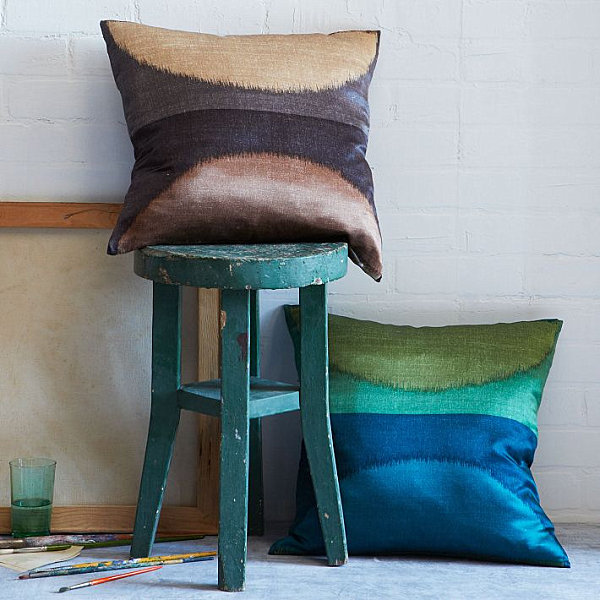 Silk pillow covers from West Elm
