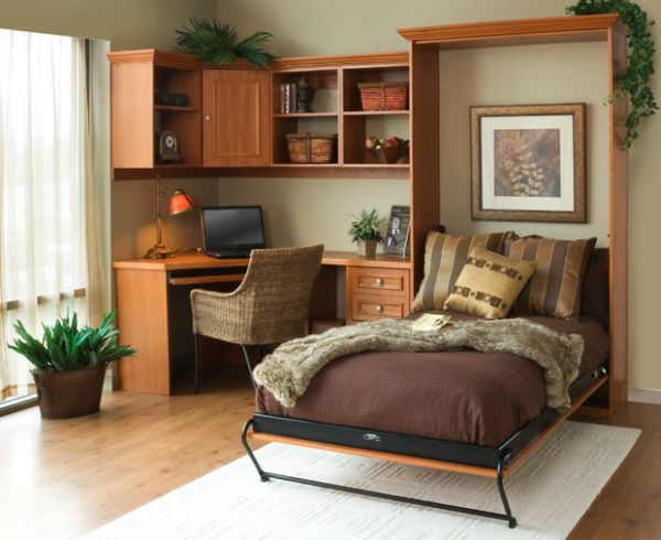 Simple and stylish Murphy bed idea for the smart home office