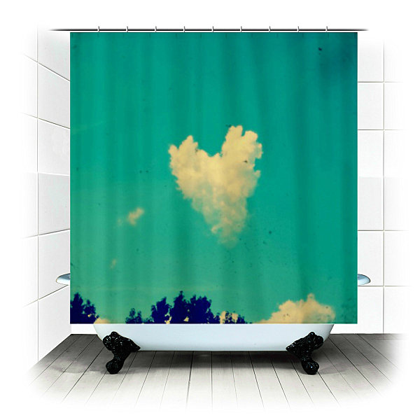 Sky fabric shower curtain