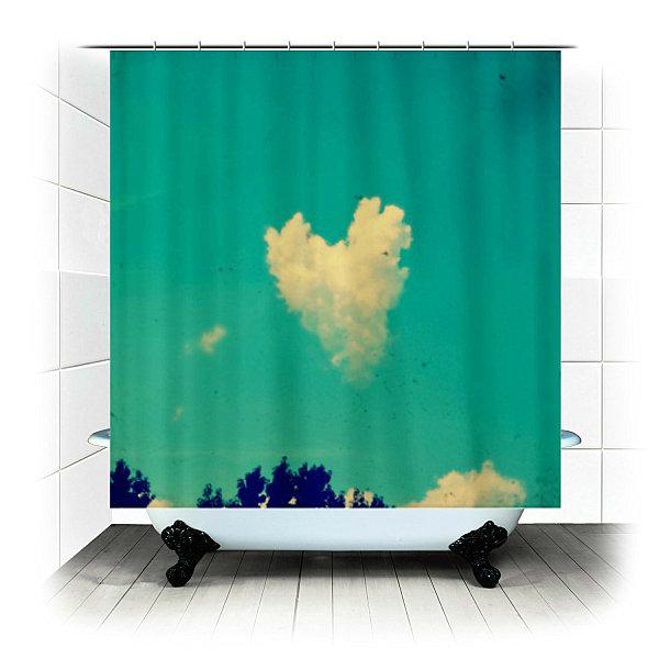 Sky fabric shower curtain