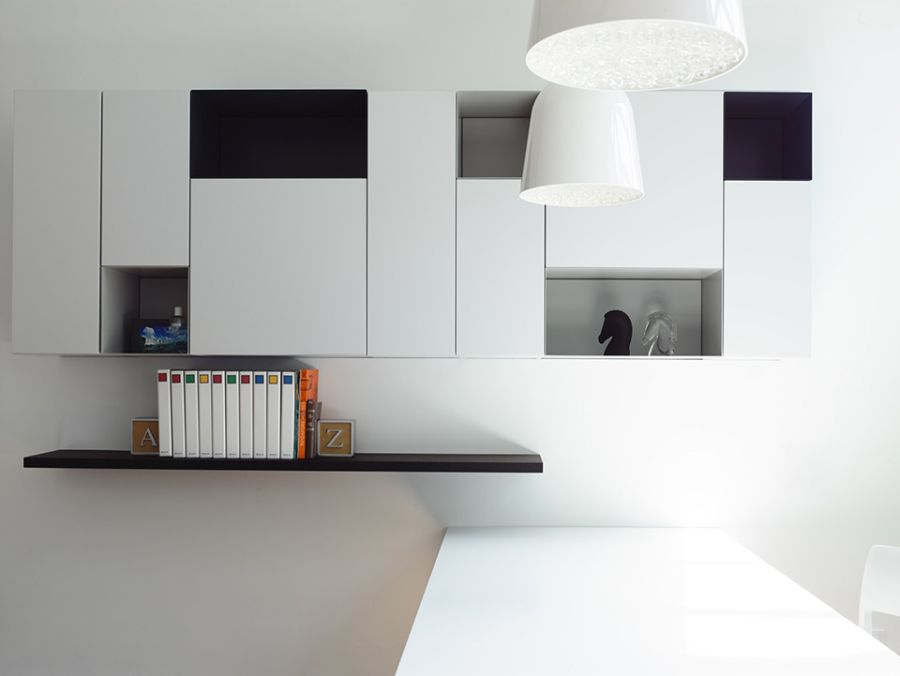 Sleek shelves in pristine white