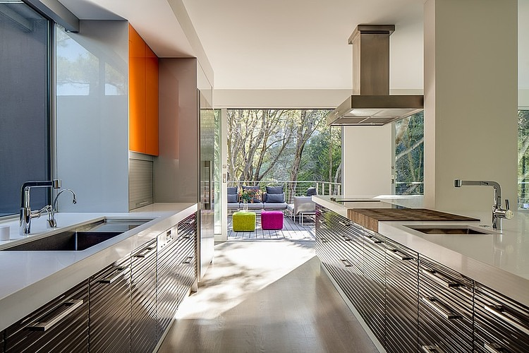 Sleek shelves in the kitchen at the Portola Valley House