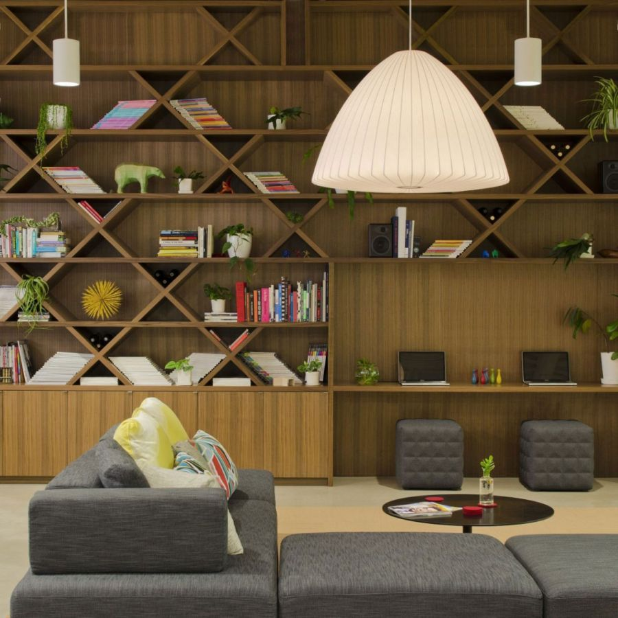 Smart shelves and lighting in the modern office