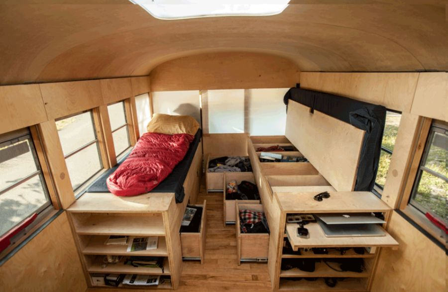 Smart storage space inside the mobile bus home