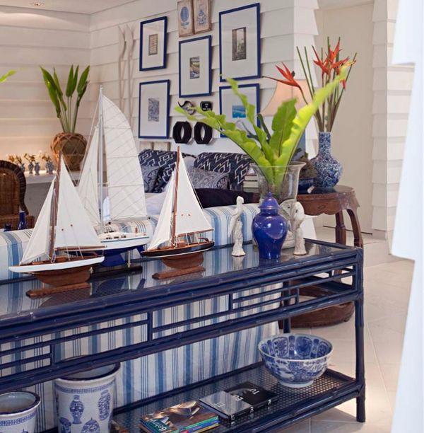 Sofa table displays a trio of sailboats