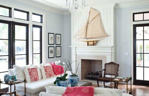 Space above the fireplace is perfect for the sailboat replica