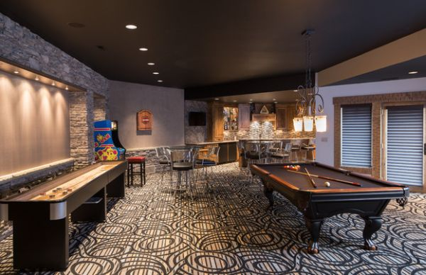 Spacious game room with an eye-catching carpet
