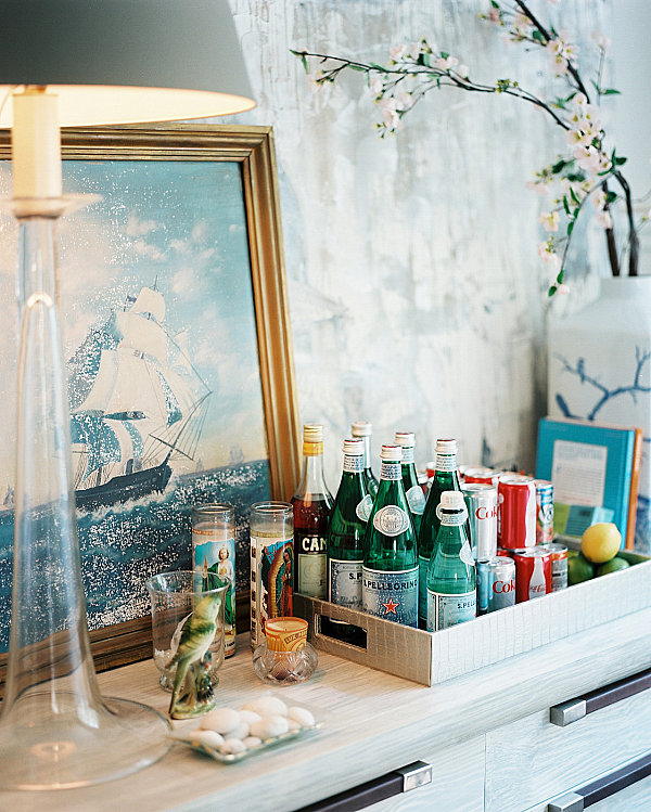 Sparkling water and soda on a bar tray Raising the Bar: Stylish Home Bar Ideas for Your Space