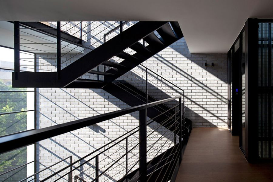 Steel staircase leading to the top level
