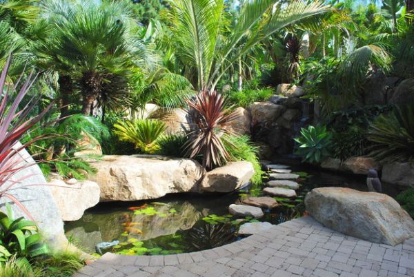 Stone plays a pivotal role in creating the perfect koi pond