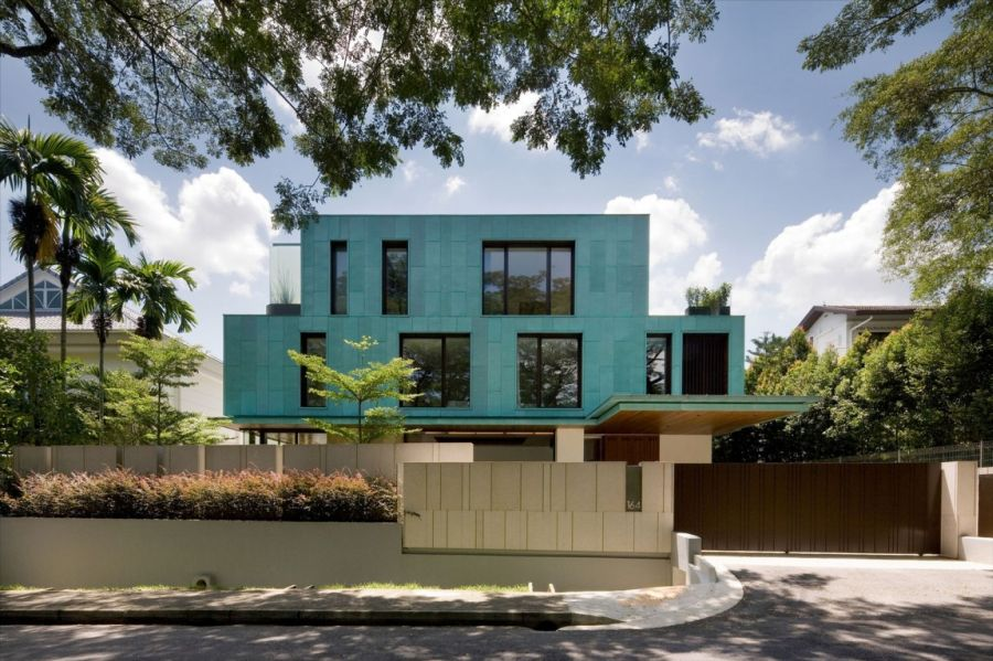 Street view of the Green House by K2LD Architects Metallic Exterior Meets Modern Interiors At Singapores Green House