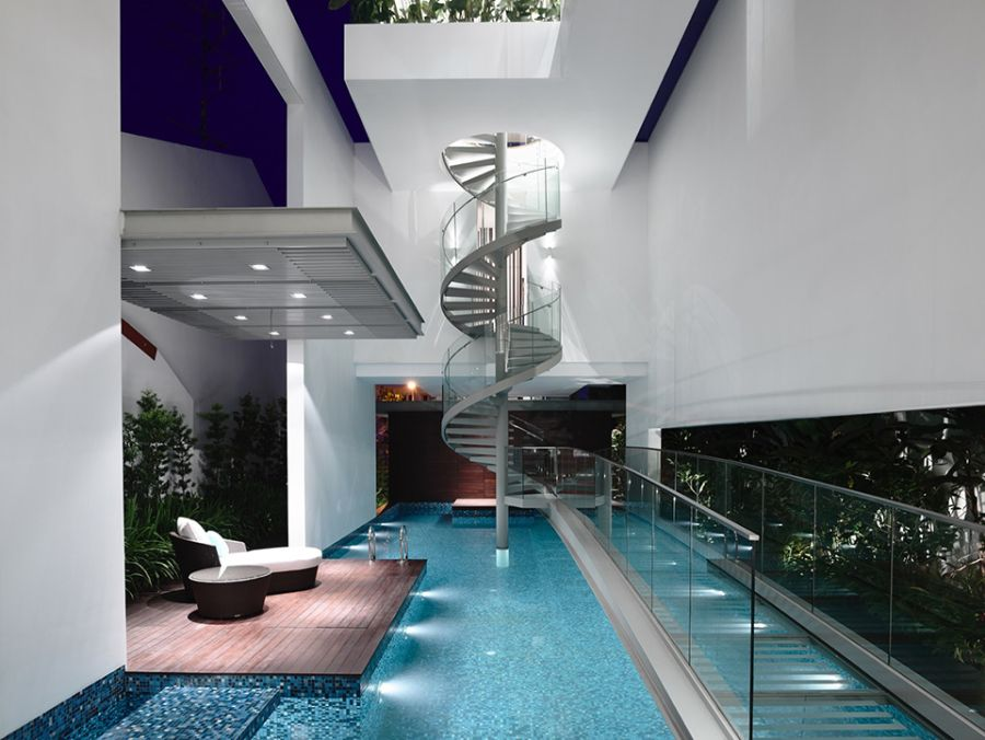 Stunning spiral staircase in the Singapore Residence Inside of a Stylish Home in Singapore