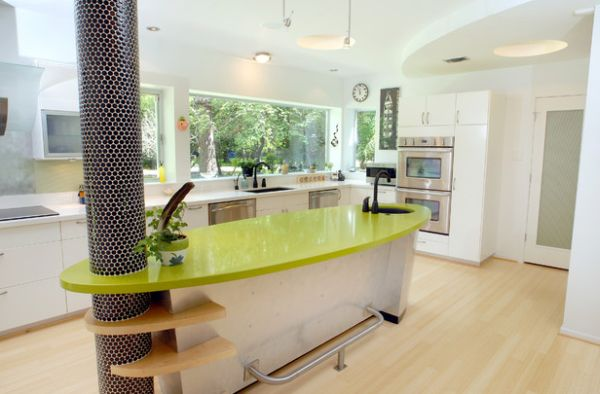 Stylish kitchen counter shaped like a surfboard