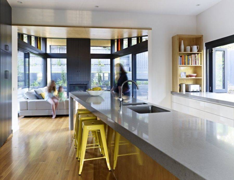 Stylish kitchen countertop and interesting seating