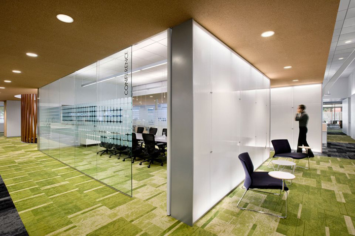 Large conference room with frosted glass