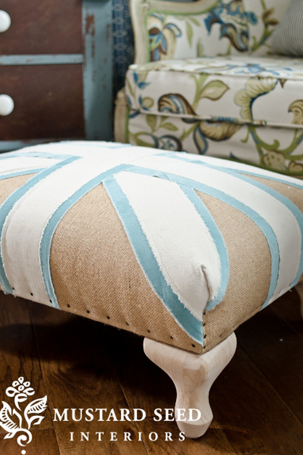 Tan and blue union jack ottoman