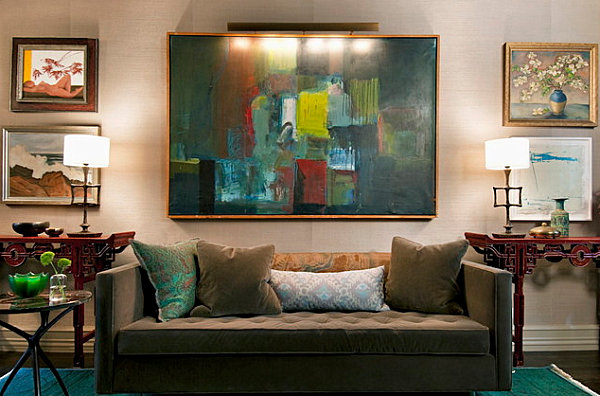 Teal and green artwork in an eclectic living room