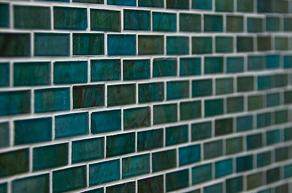 Teal and green mosaic tile