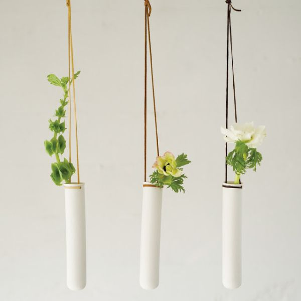 Test tube vases turned into modern hanging planters
