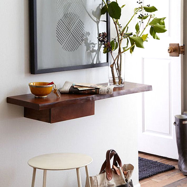 Thoughtful details on an entryway shelf