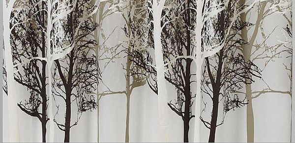 Tree-motif shower curtain