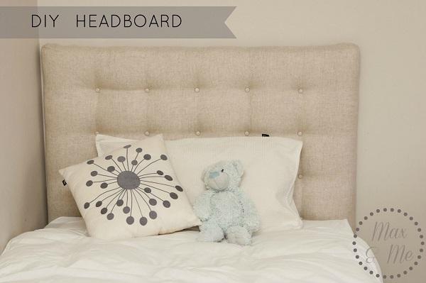 Tufted linen headboard
