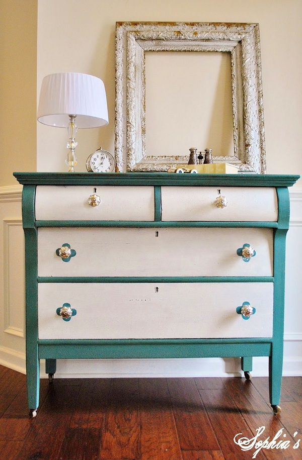 Turquoise and white dresser DIY