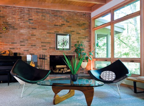 Twin coconut chairs add panache to an eclectic backdrop