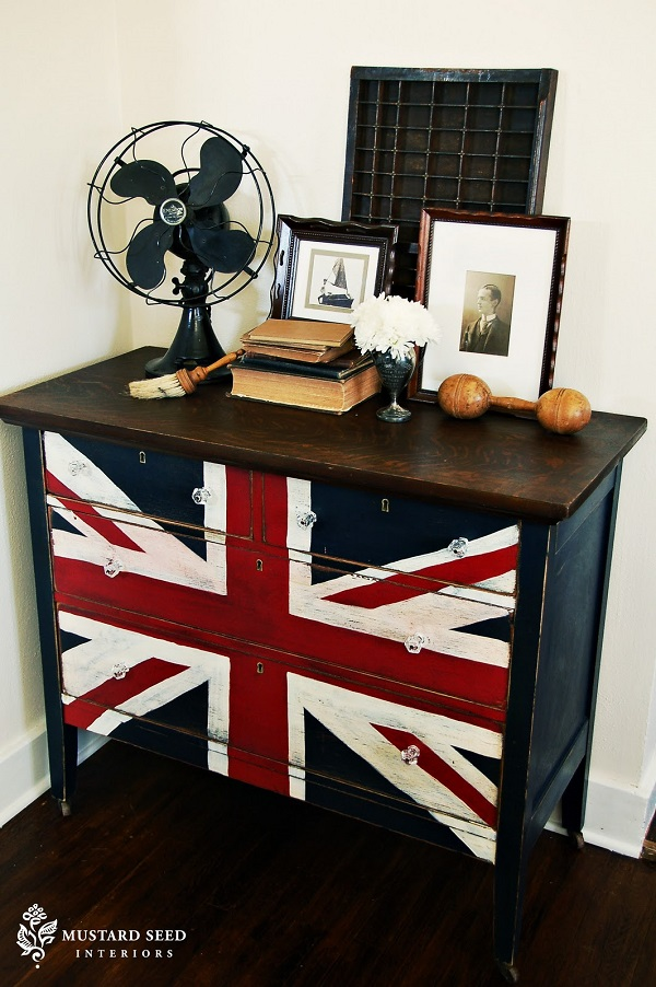 Union jack on chest of drawers British Fever: DIYs Inspired by the Union Jack