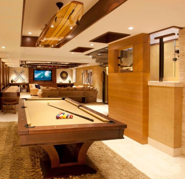Unique lighting installation for the pool table
