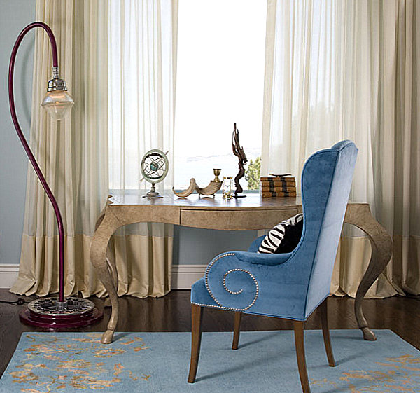 Unusual curved lamp in an eclectic office