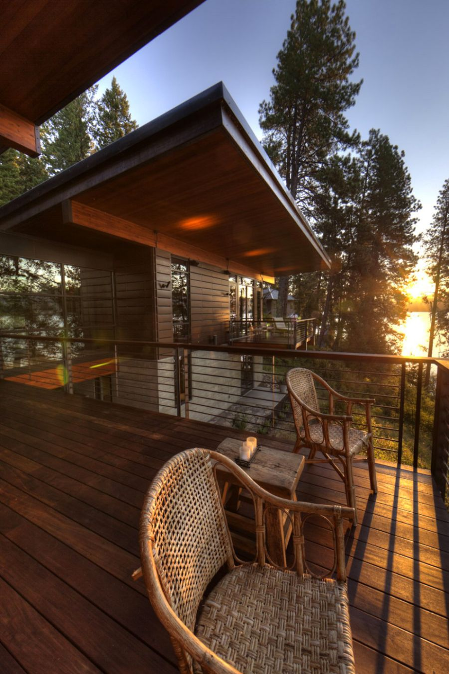 View of setting sun from the deck of Coeur D'Alene Lake house
