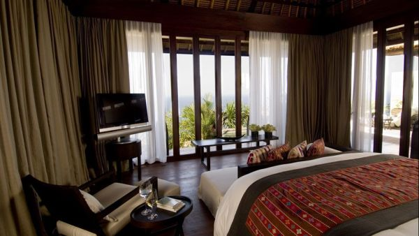 Villa bedroom at the Bulgari Resort in Bali