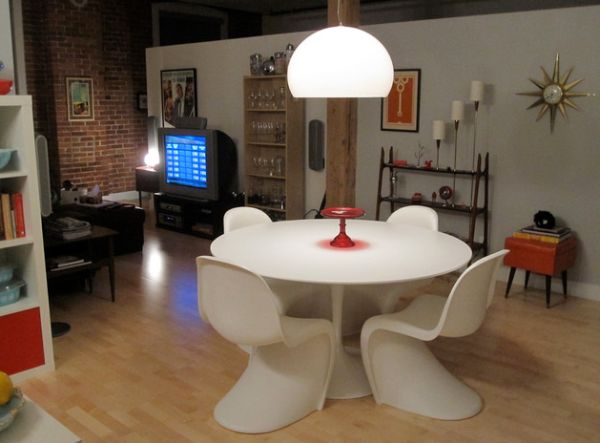 Vitra New Panton chairs in white give the Tulip table company