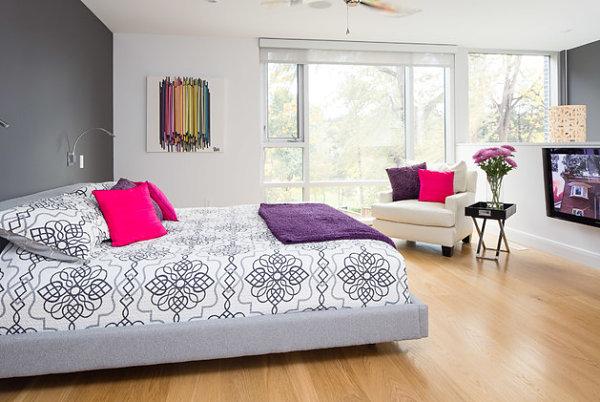 Vivid bedroom with modern artwork
