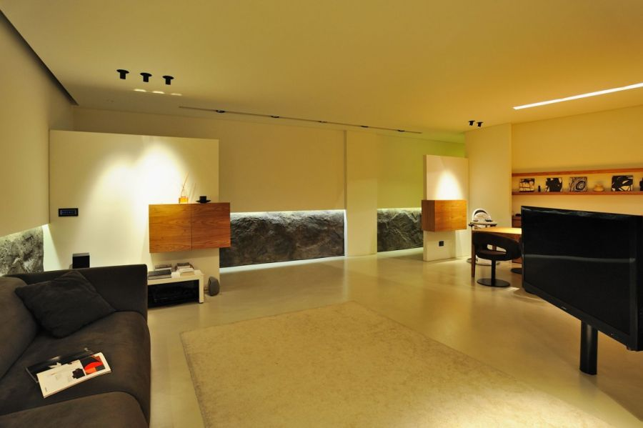 Warm lighting for minimalist living room