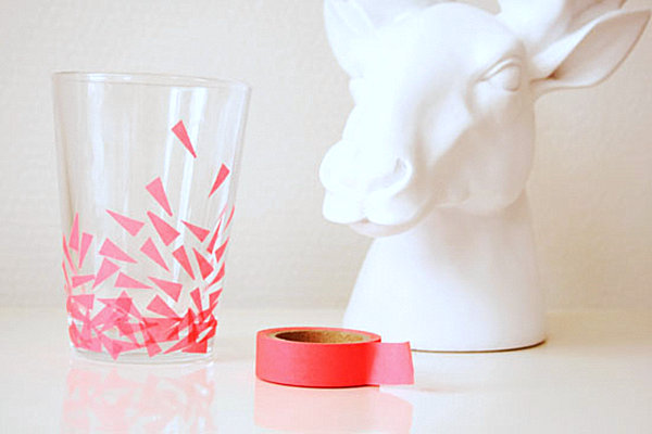 Washi tape drinking glass DIY idea