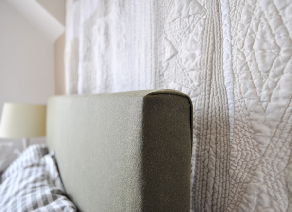 Waxed canvas upholstered headboard