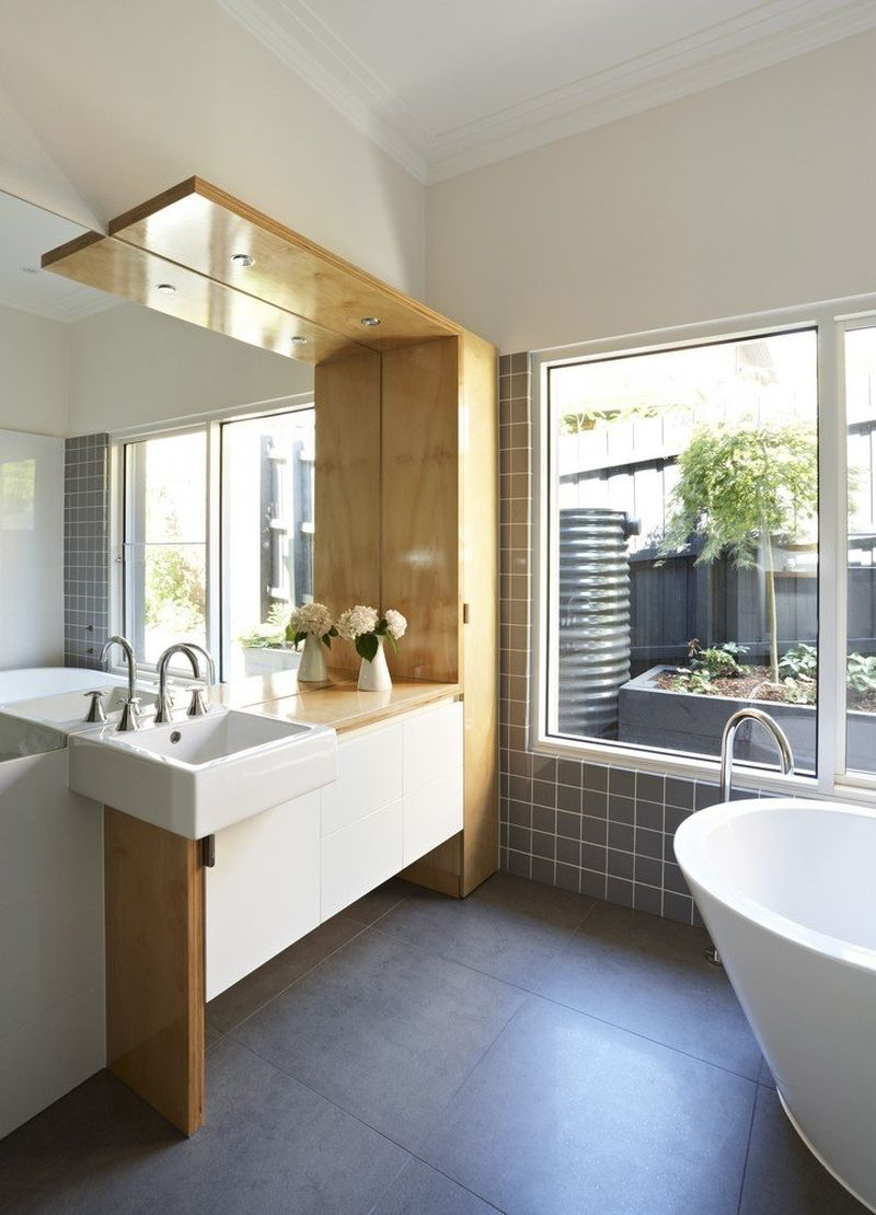 Lovely View in gallery White bathroom with wooden tones