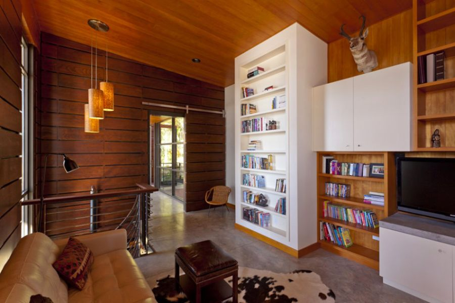 White bookshelf offers visual contrast