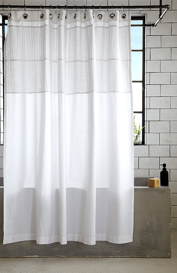 White cotton shower curtain