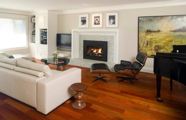 White couch presents a perfect backdrop for the Walnut Stool