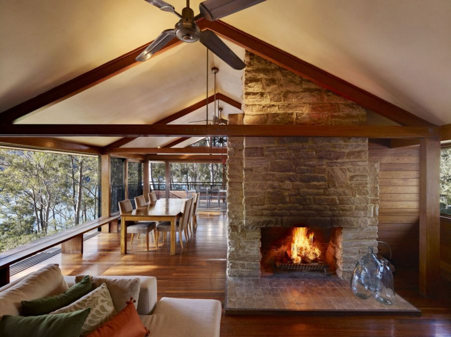 Wood and stone interiors at the Treetops