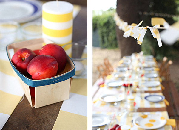 Yellow and white stripes at an end of summer party