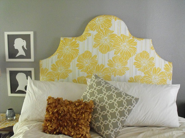 Yellow floral headboard